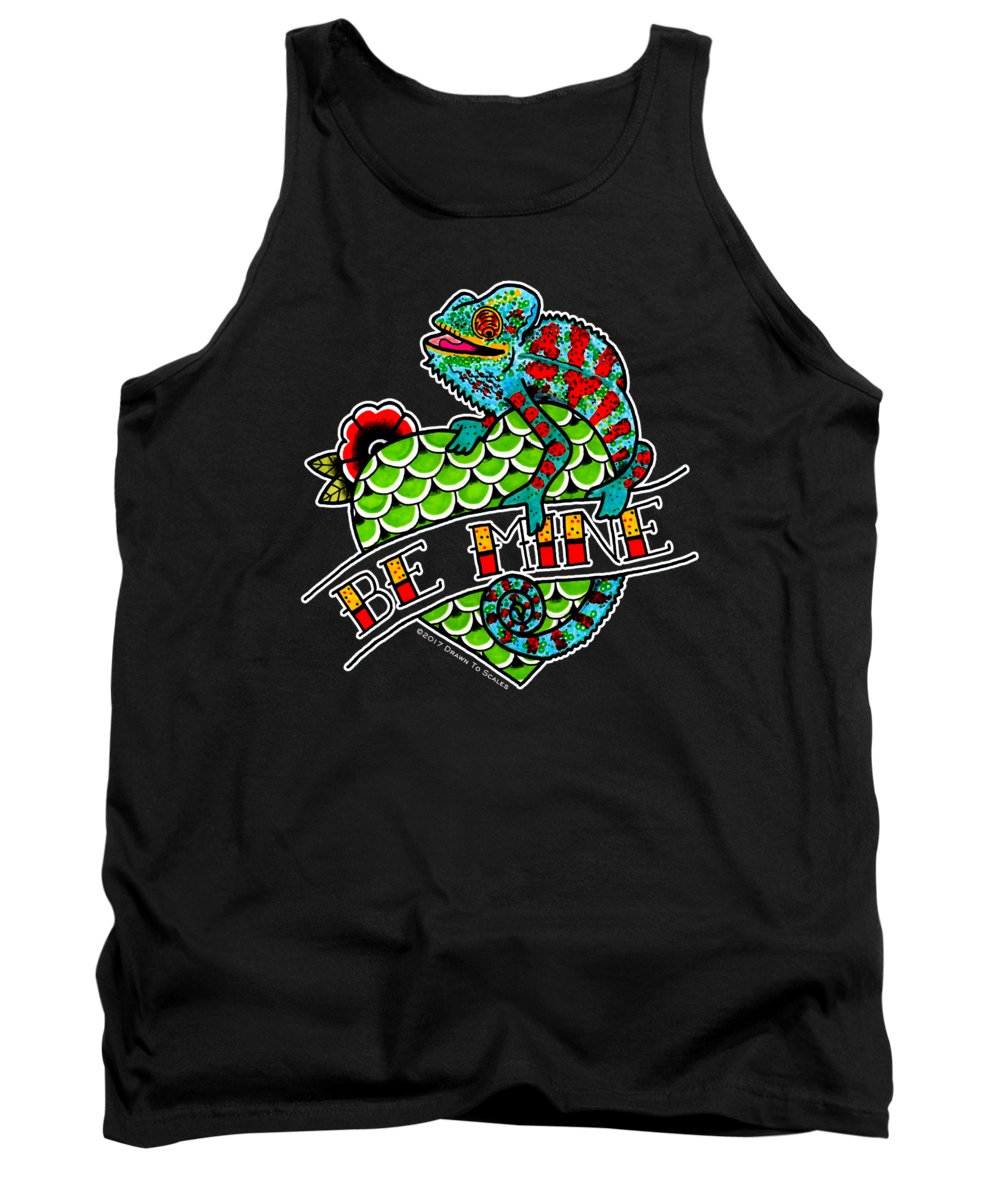 Lizard Tank Top featuring the drawing Be Mine Panther Chameleon by Donovan Winterberg