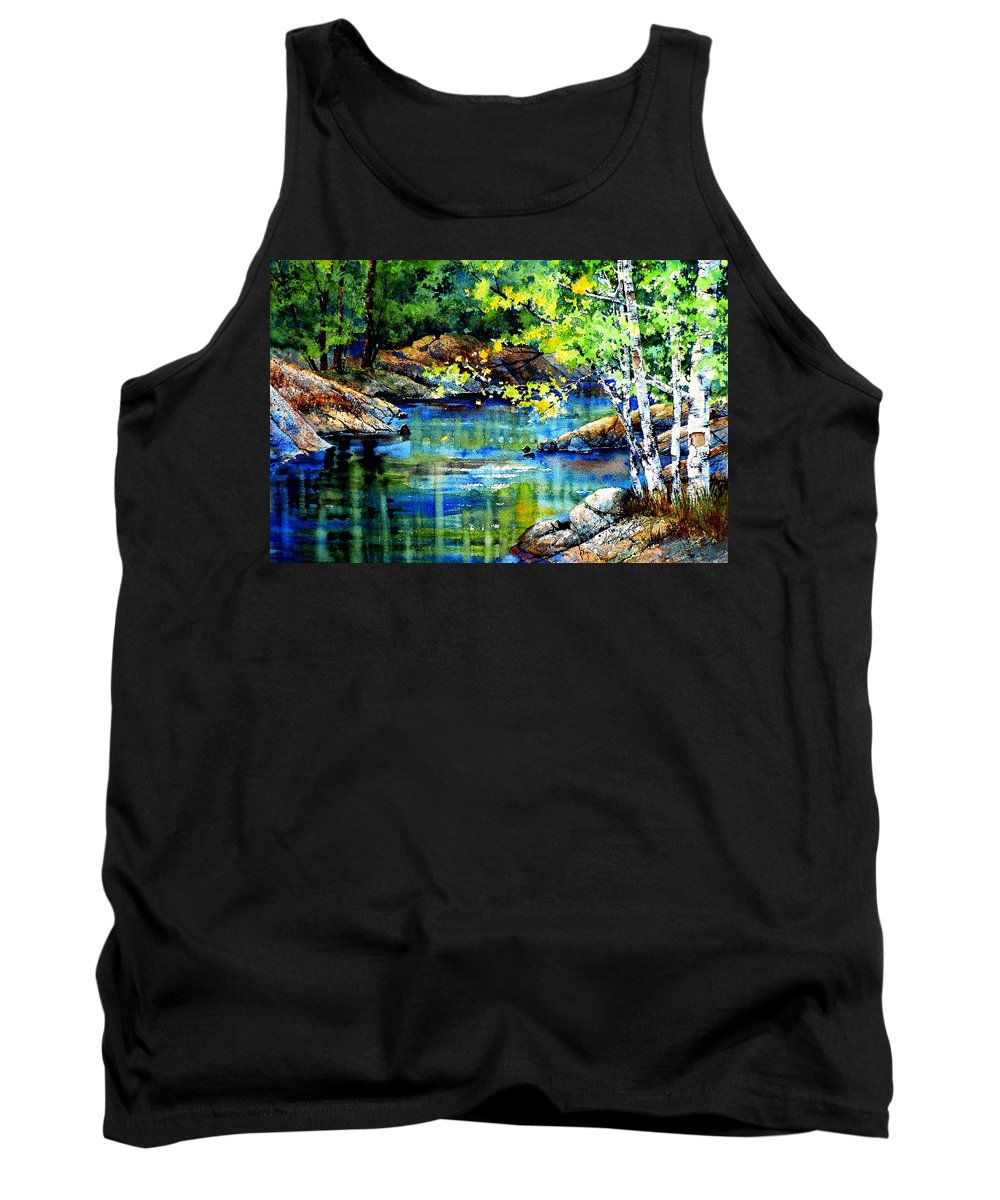 Landscape Painting Tank Top featuring the painting Bear Paw Stream by Hanne Lore Koehler