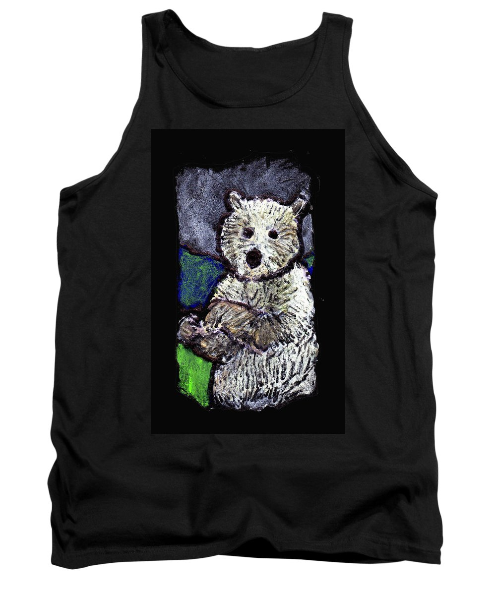 Bear Tank Top featuring the painting Bearly Scary by Wayne Potrafka