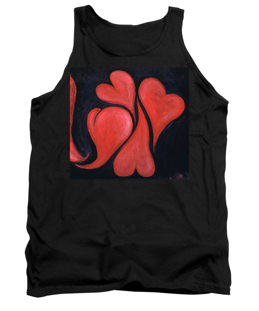 Hearts Tank Top featuring the painting Beating Hearts by Nancy Mueller
