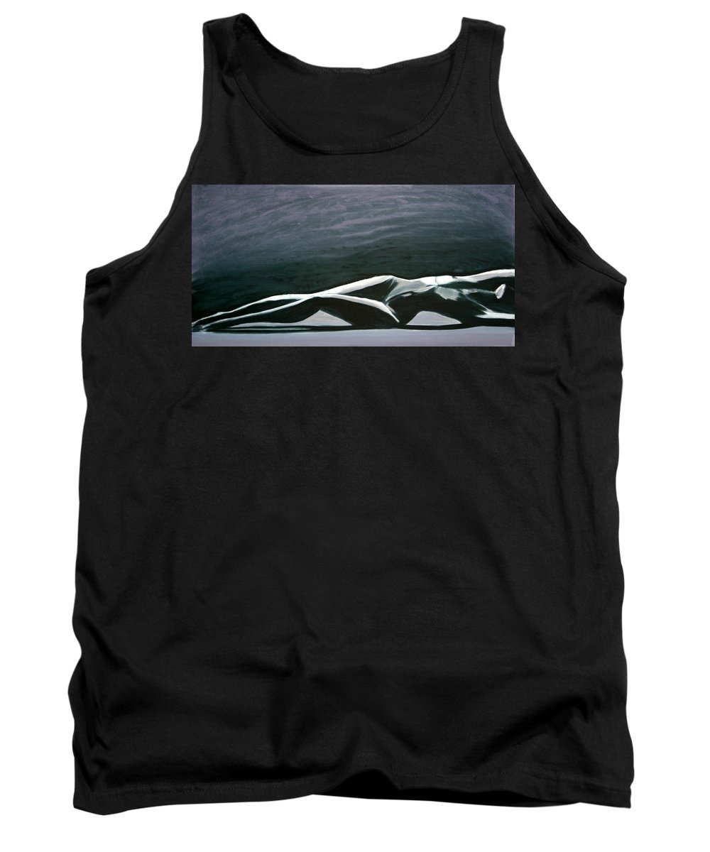 Art Tank Top featuring the painting Beautiful Diver by Jarmo Korhonen aka Jarko