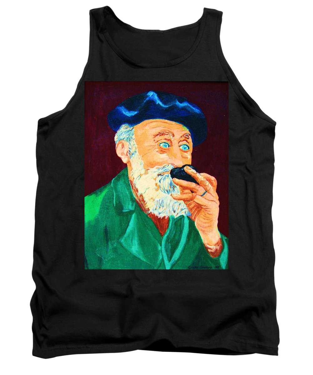 Portraits Tank Top featuring the painting Beautiful Old Blue Eyes by Carole Spandau