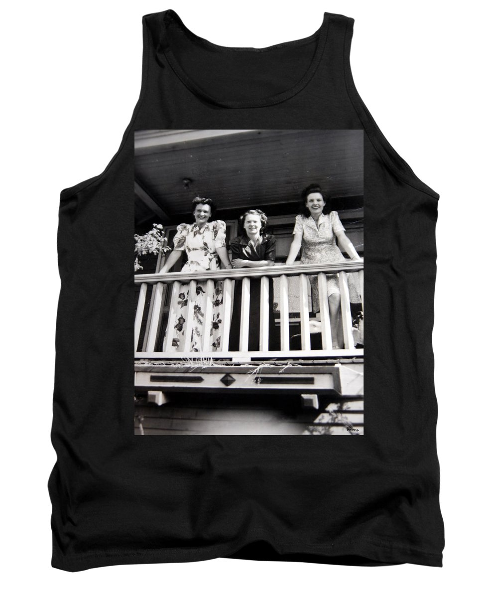 Ladies Women 1950s Classic Black And White Photography Tank Top featuring the photograph Beauty And Balconies by Andrea Lawrence