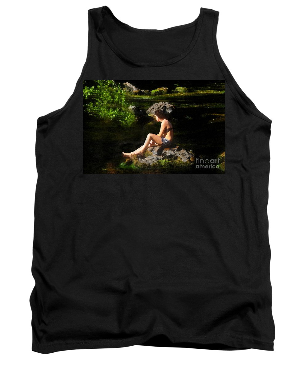 Beauty Tank Top featuring the painting Beauty On The Rocks by David Lee Thompson
