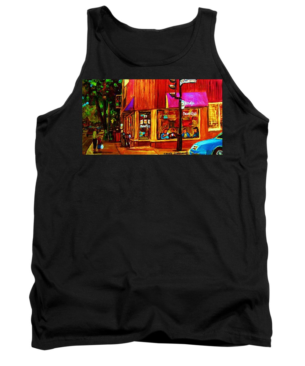 Beautys Restaurant Montreal Tank Top featuring the painting Beautys Luncheonette by Carole Spandau