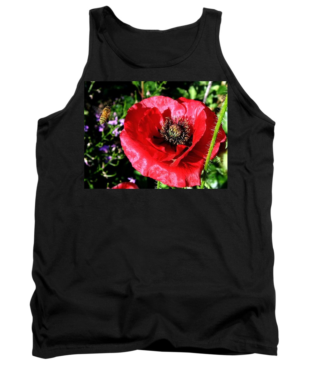Bee Tank Top featuring the photograph Bee And Red Poppy by Will Borden