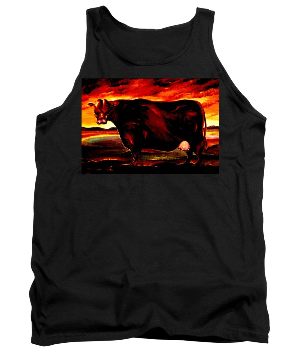Farm Animal Tank Top featuring the painting Beef Holocaust IIi by Mark Cawood