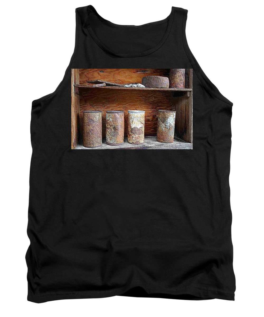 Cans Tank Top featuring the photograph Beer Cans On Shelf by Nelson Strong