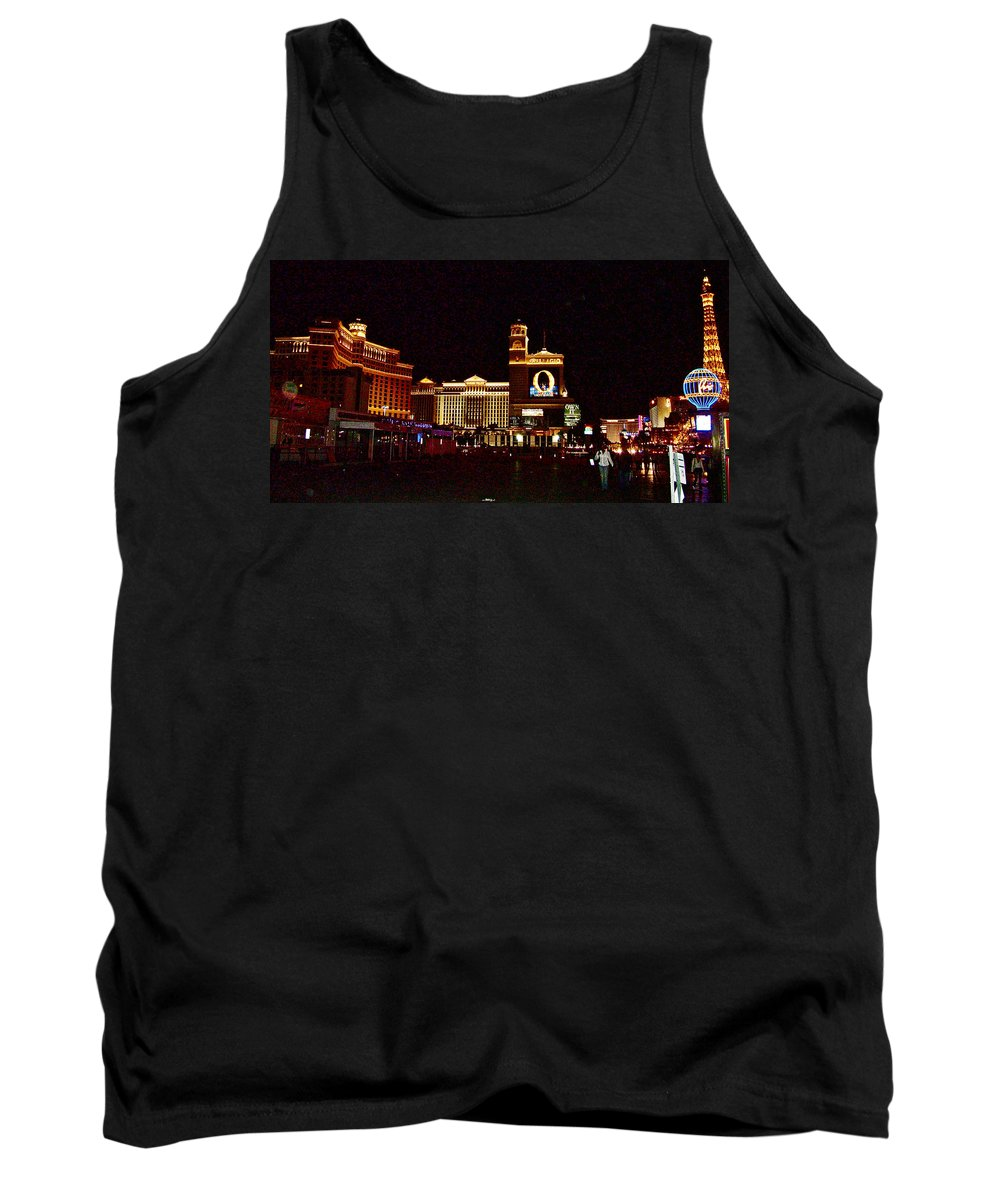 Bellagio And Caesar's Palace In Las Vegas Tank Top featuring the photograph Bellagio And Caesar's Palace In Las Vegas-nevada by Ruth Hager