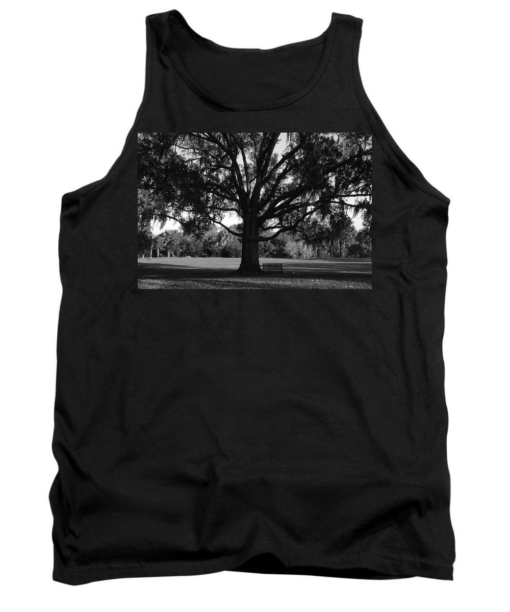 Park Bench Tank Top featuring the photograph Bench Under Oak by David Lee Thompson