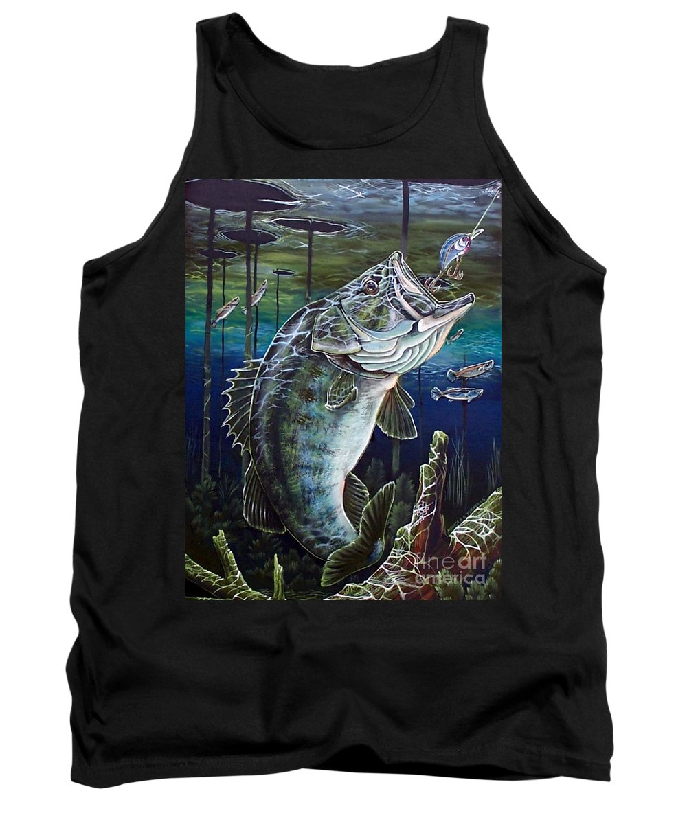 Bass Tank Top featuring the painting Beneath The Surface by Monica Turner