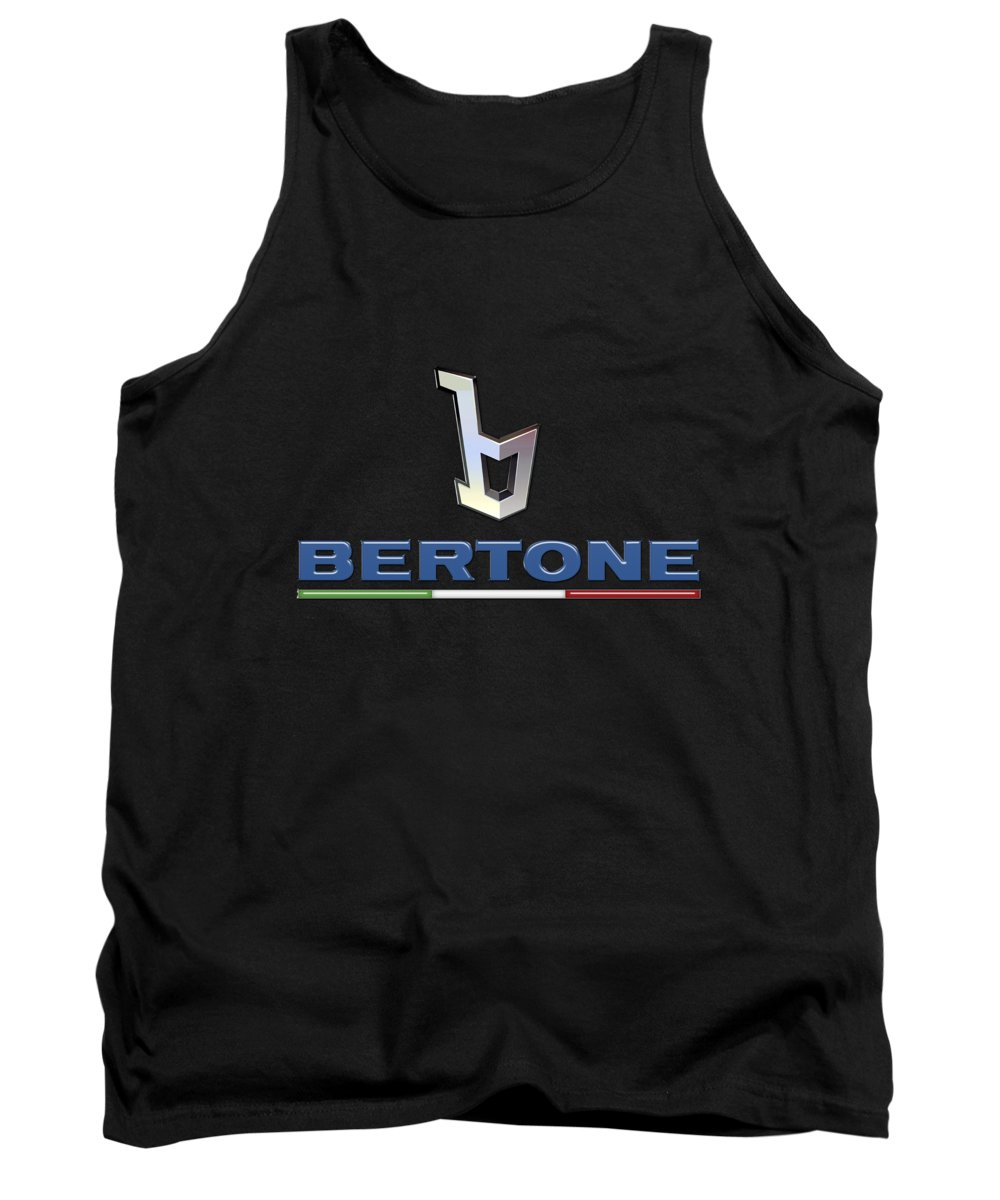 'auto Badges' Collection By Serge Averbukh Tank Top featuring the photograph Bertone - 3 D Badge On Black by Serge Averbukh