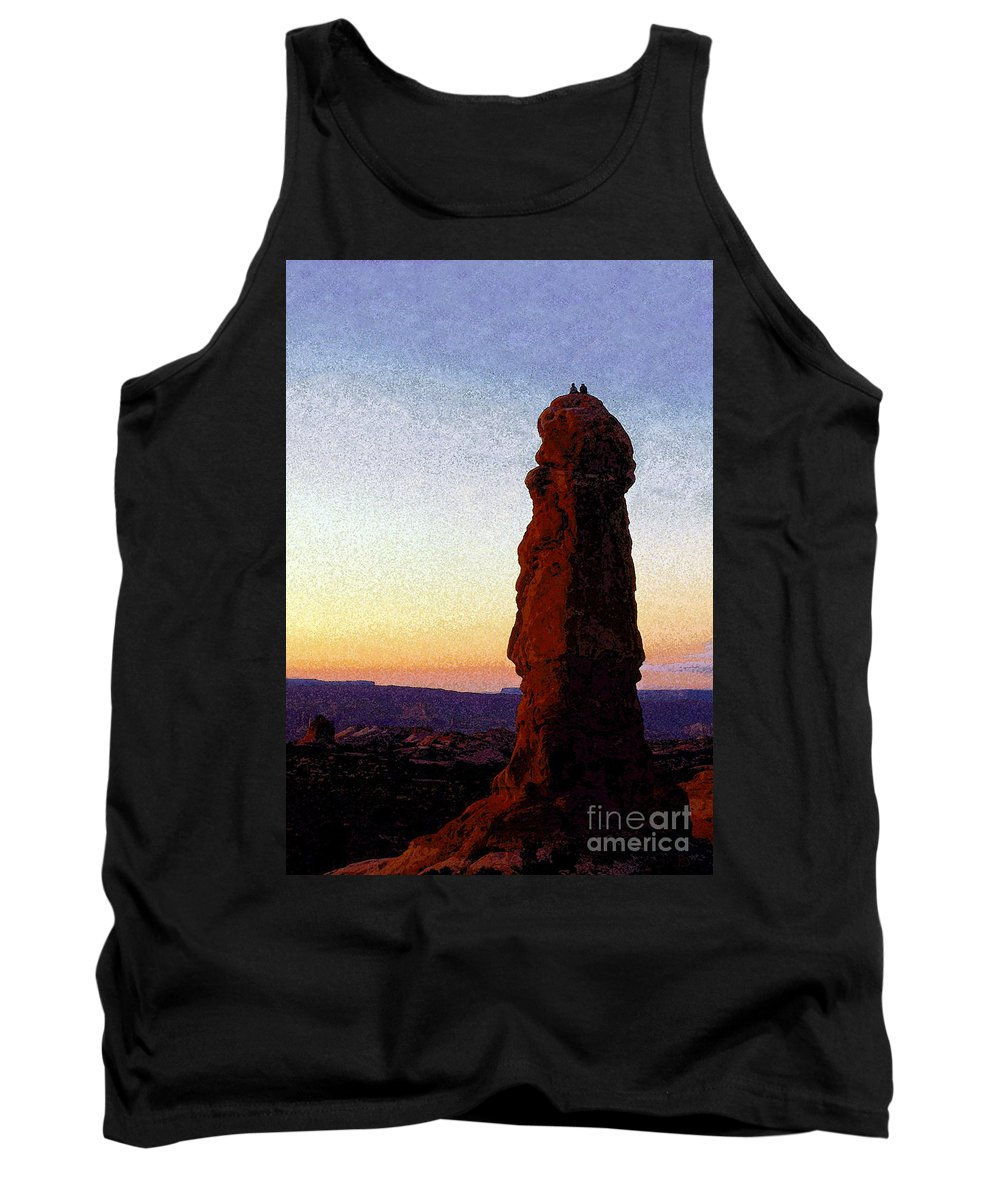 Art.artwork Tank Top featuring the painting Between Rock And Sky by David Lee Thompson