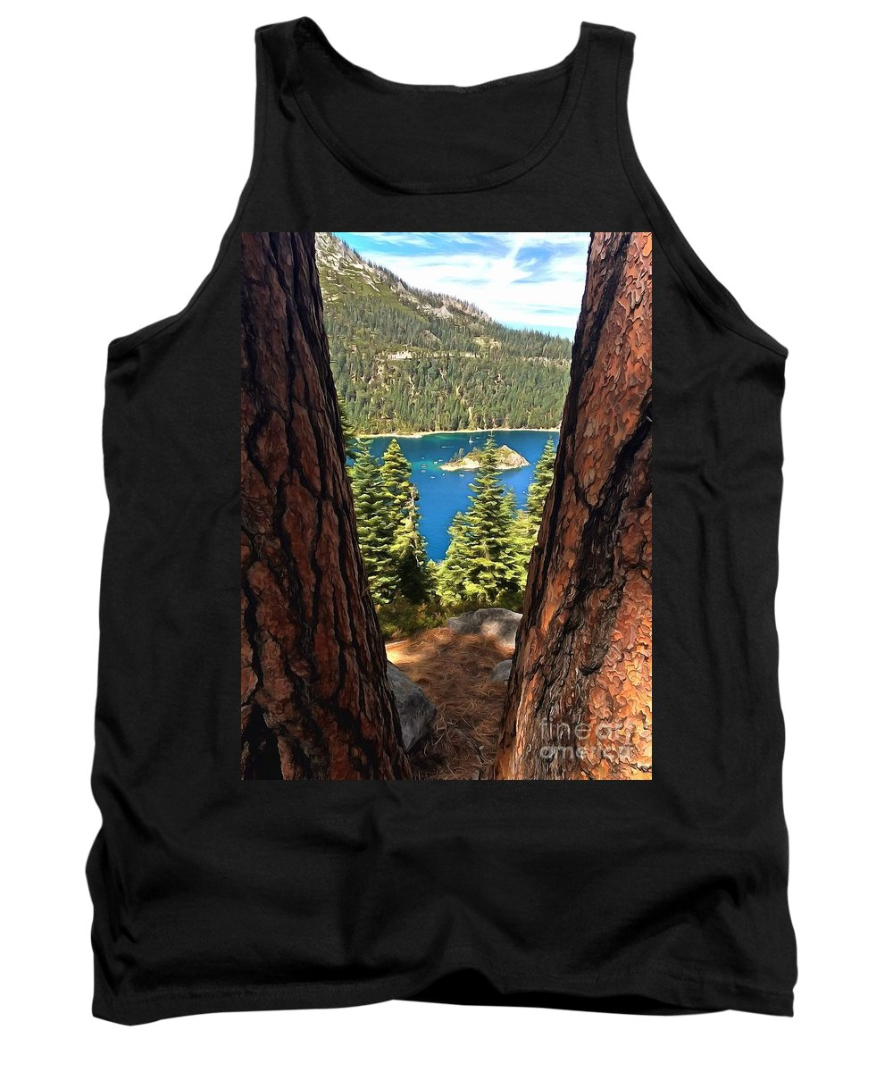 Lake Tahoe Tank Top featuring the photograph Between The Pines by Krissy Katsimbras