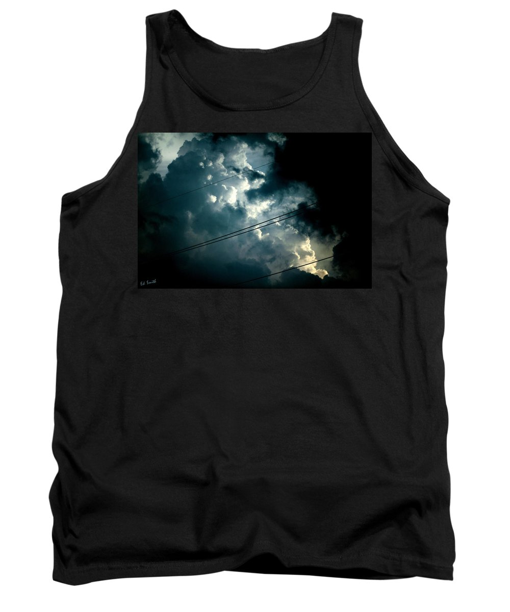 Beyond The Electric Fence Tank Top featuring the photograph Beyond The Electric Fence by Ed Smith