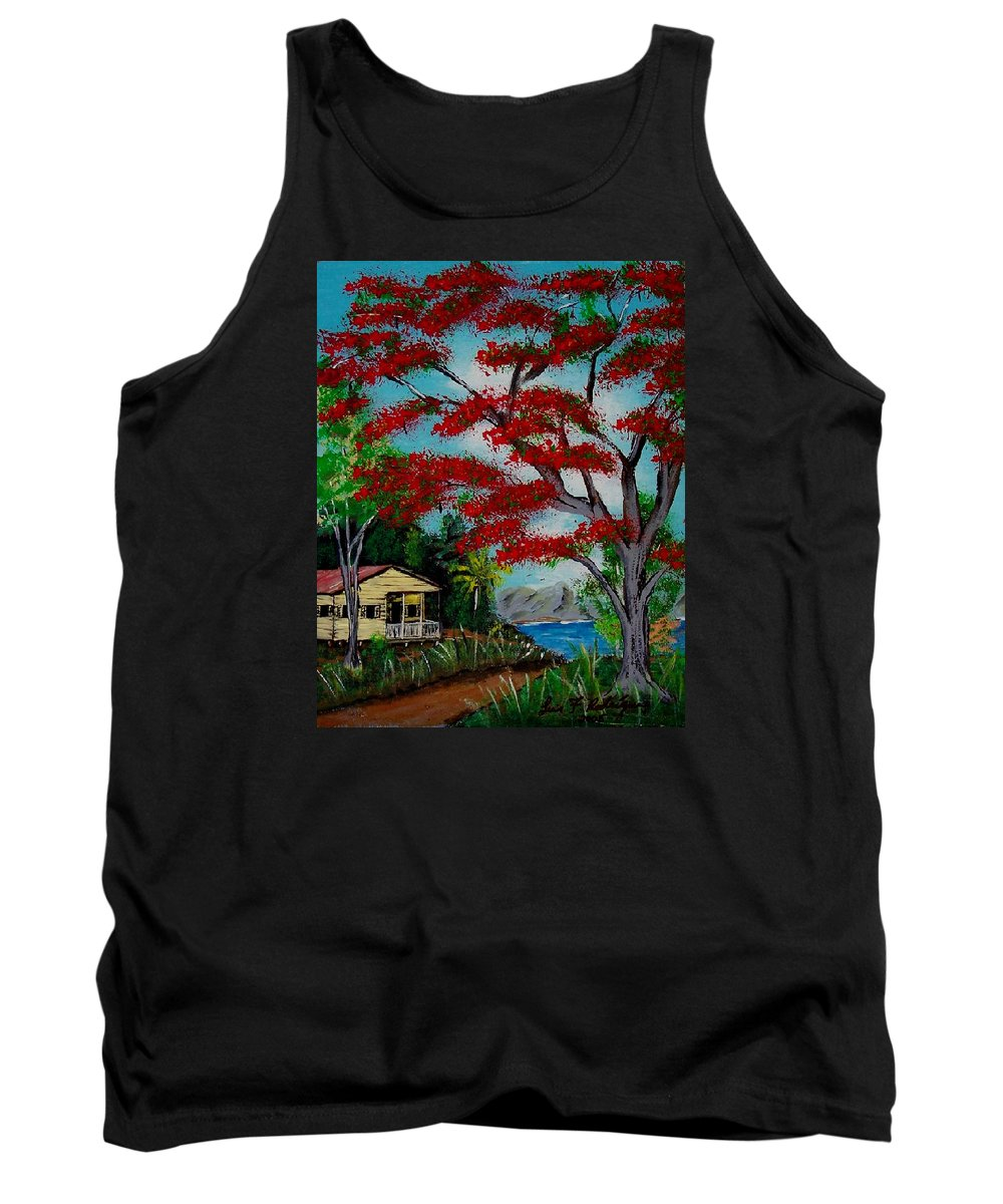 Flamboyant Tree Tank Top featuring the painting Big Red by Luis F Rodriguez