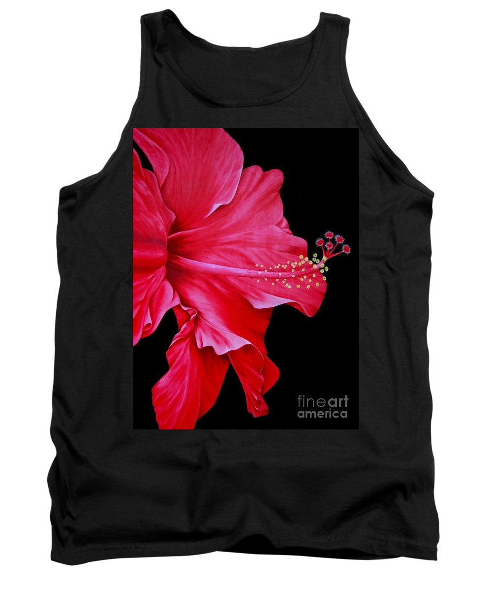 Red Flowers Tank Top featuring the painting Big Red by Mary Deal