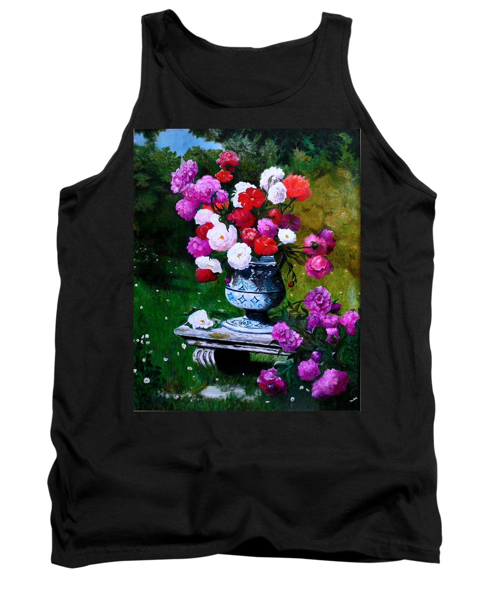 Stilllife Tank Top featuring the painting Big Vase With Peonies by Helmut Rottler