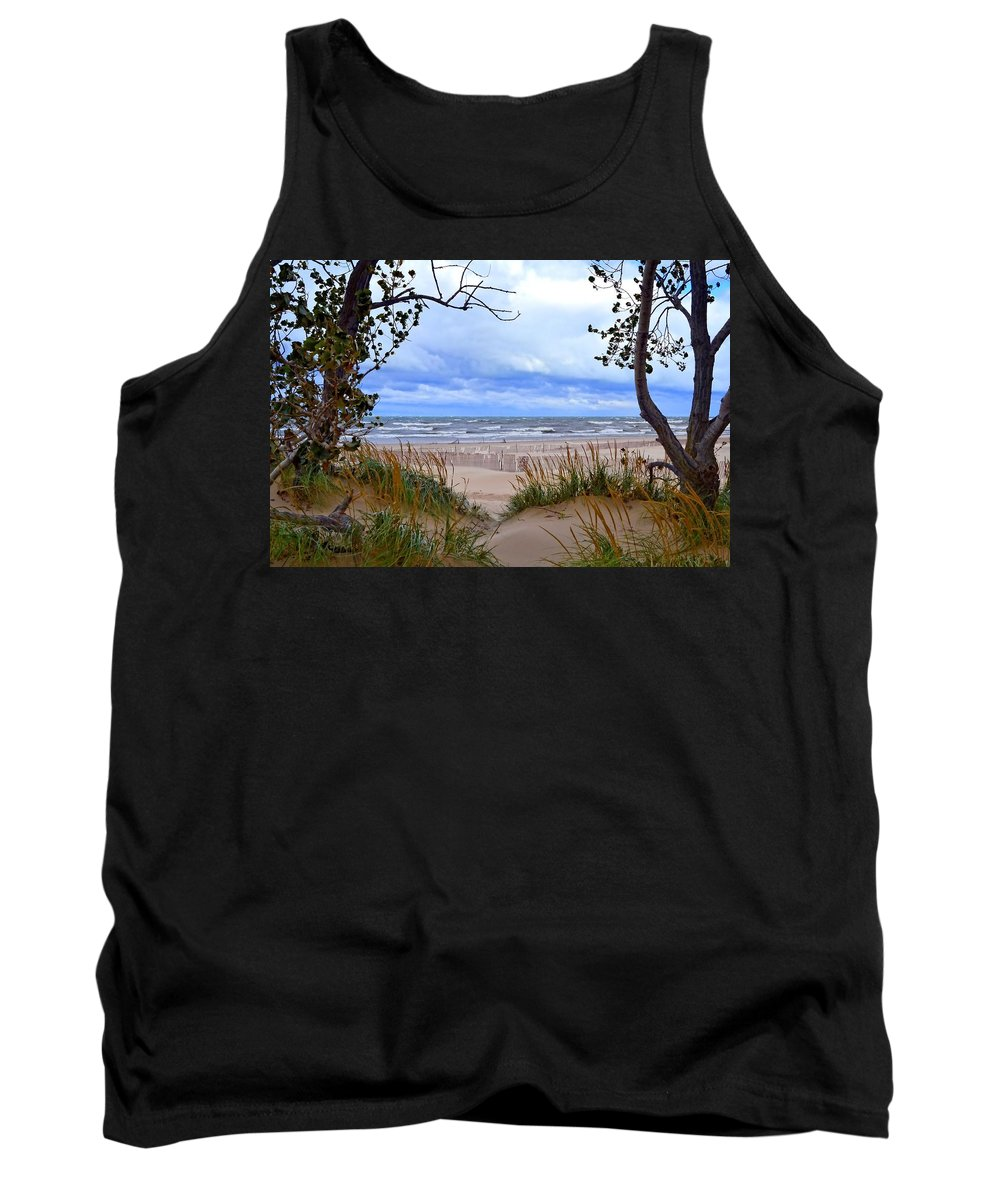 Trees Tank Top featuring the photograph Big Waves On Lake Michigan 2.0 by Michelle Calkins