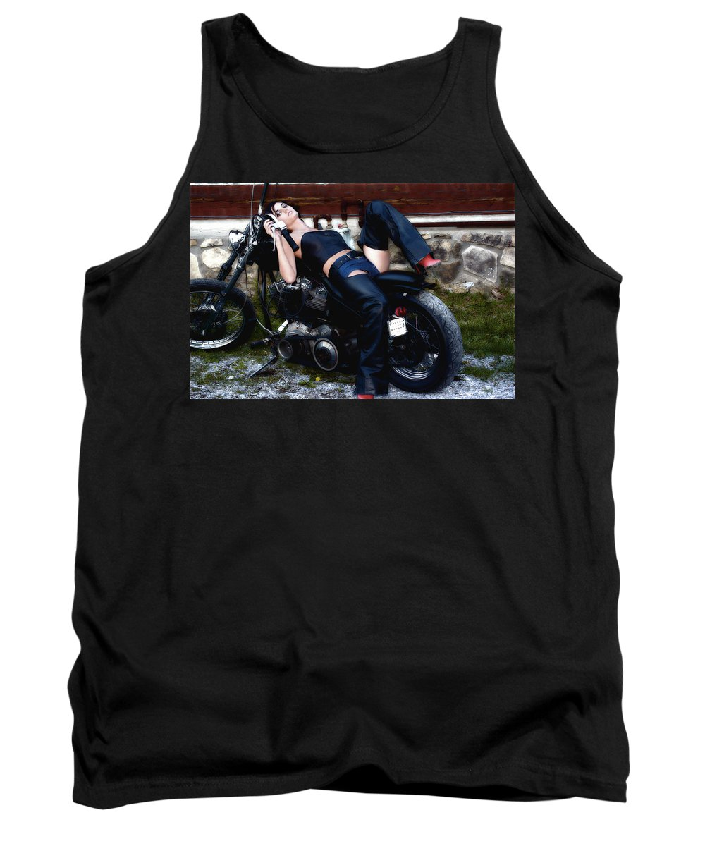 Clay Tank Top featuring the photograph Bikes And Babes by Clayton Bruster