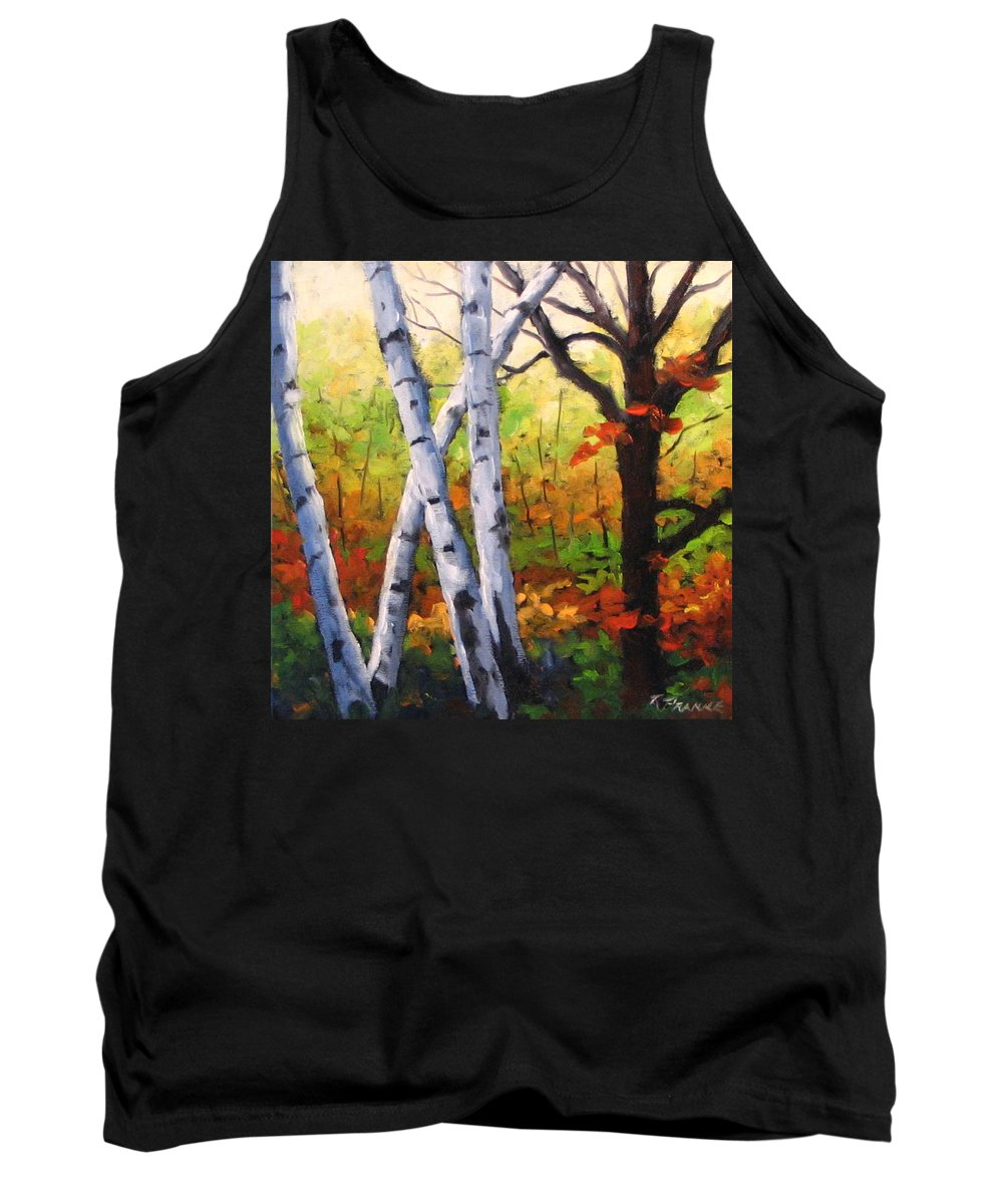 Art Tank Top featuring the painting Birches 05 by Richard T Pranke