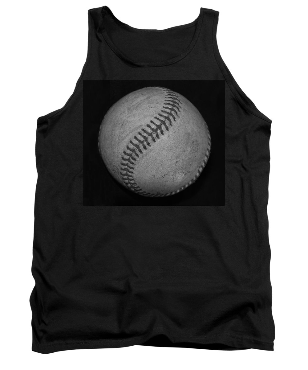 Baseball Tank Top featuring the photograph Black And White Baseball by Rob Hans