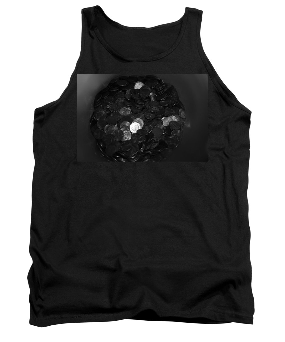 Abstract Tank Top featuring the photograph Black And White Pennies by Rob Hans