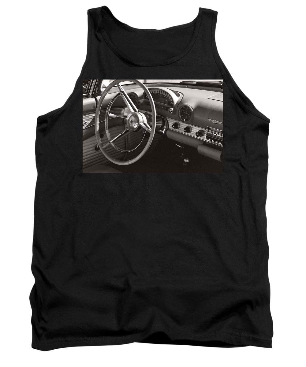Black Tank Top featuring the photograph Black And White Thunderbird Steering Wheel And Dash by Heather Kirk