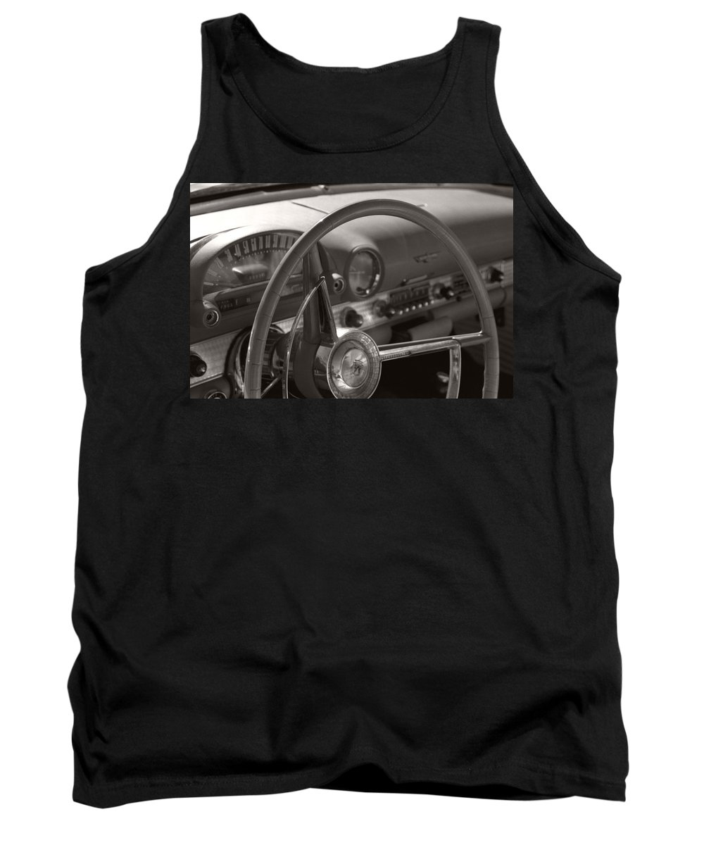 Black And White Photography Tank Top featuring the photograph Black And White Thunderbird Steering Wheel by Heather Kirk