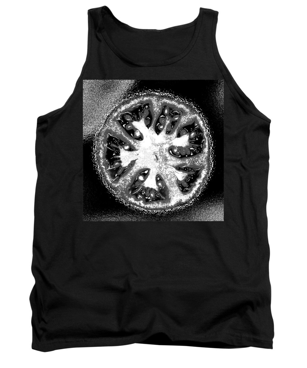 Tomato Tank Top featuring the photograph Black And White Tomato by Nancy Mueller