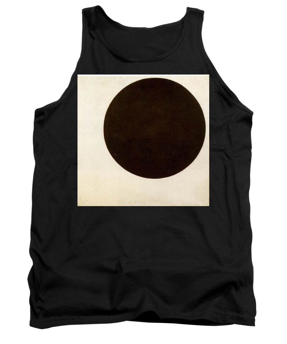 Black Tank Top featuring the digital art Black Circle Kazimir Malevich by Eloisa Mannion