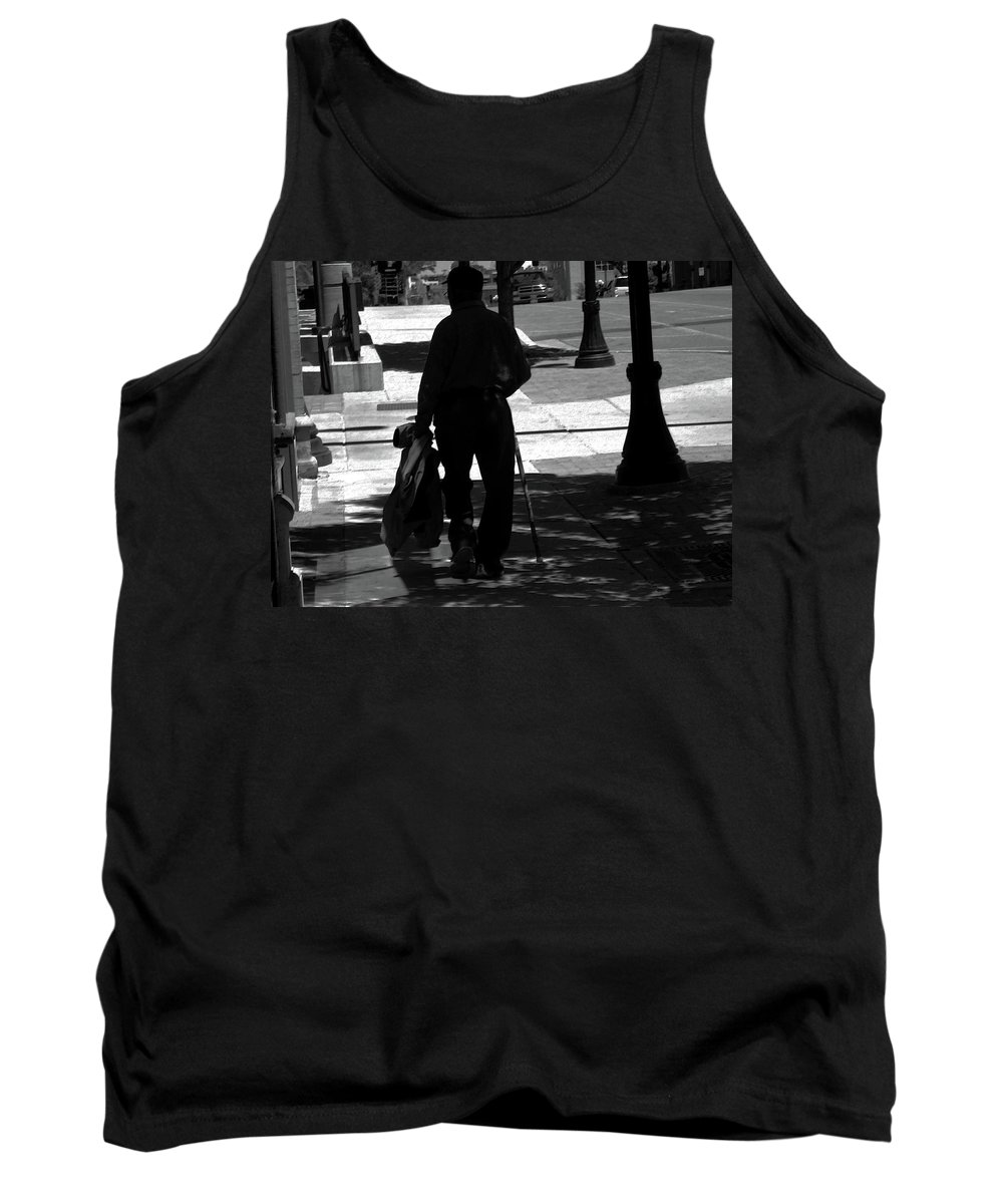 Abstract Tank Top featuring the photograph Black Man With Cane by Lenore Senior