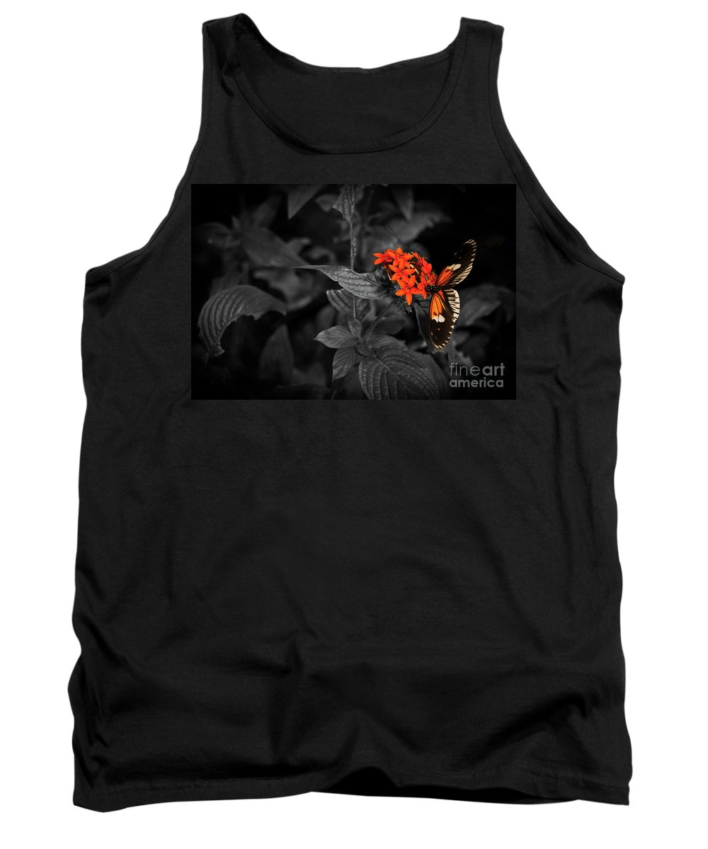 Butterfly Tank Top featuring the photograph Black-orange Butterfly by Iluphoto