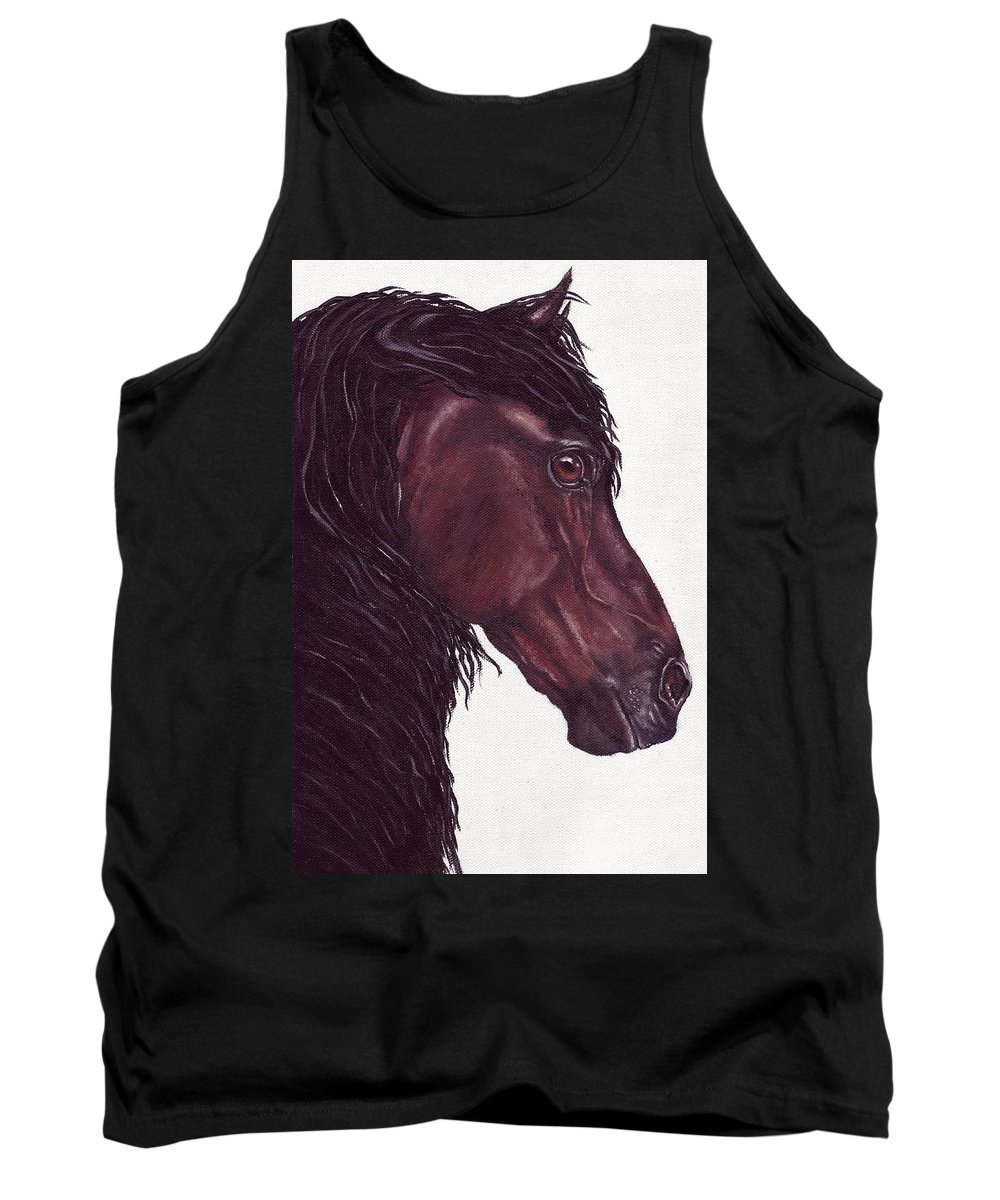 Horse Tank Top featuring the painting Black Sterling I by Kristen Wesch