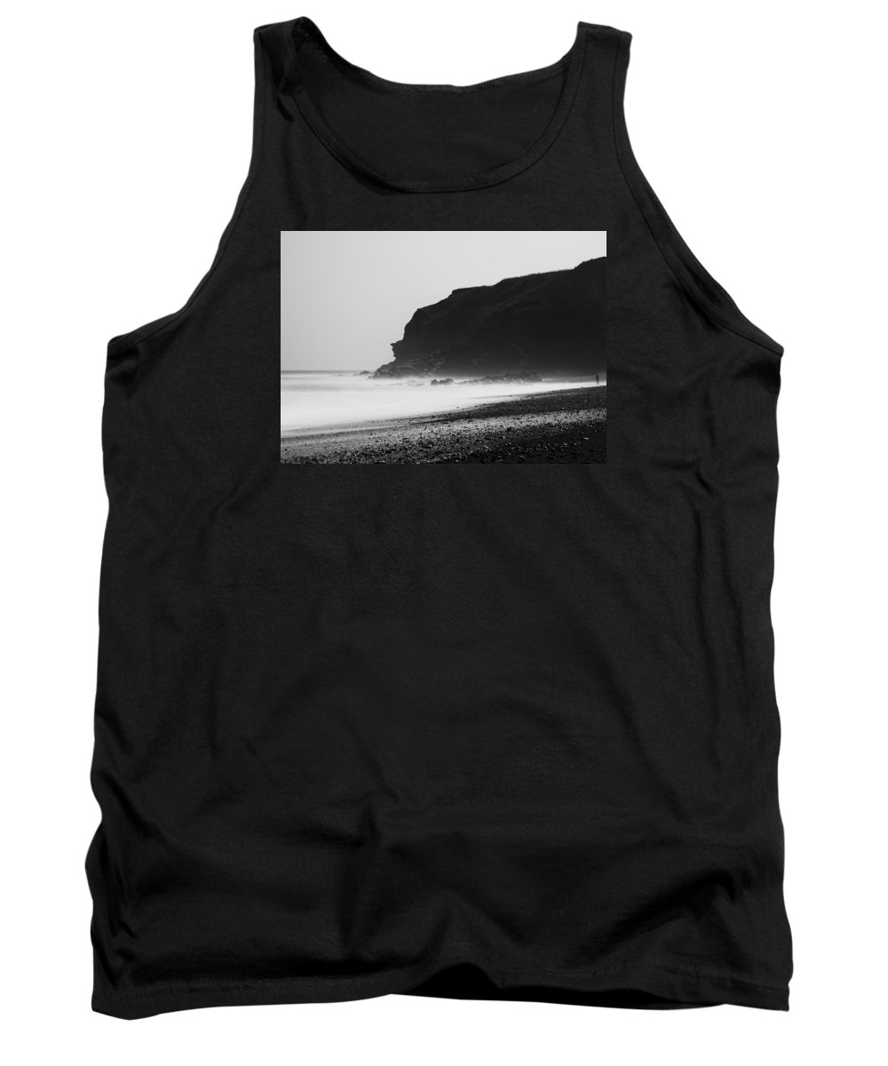 Black And White Tank Top featuring the photograph Blast Beach Monochrome by David Taylor