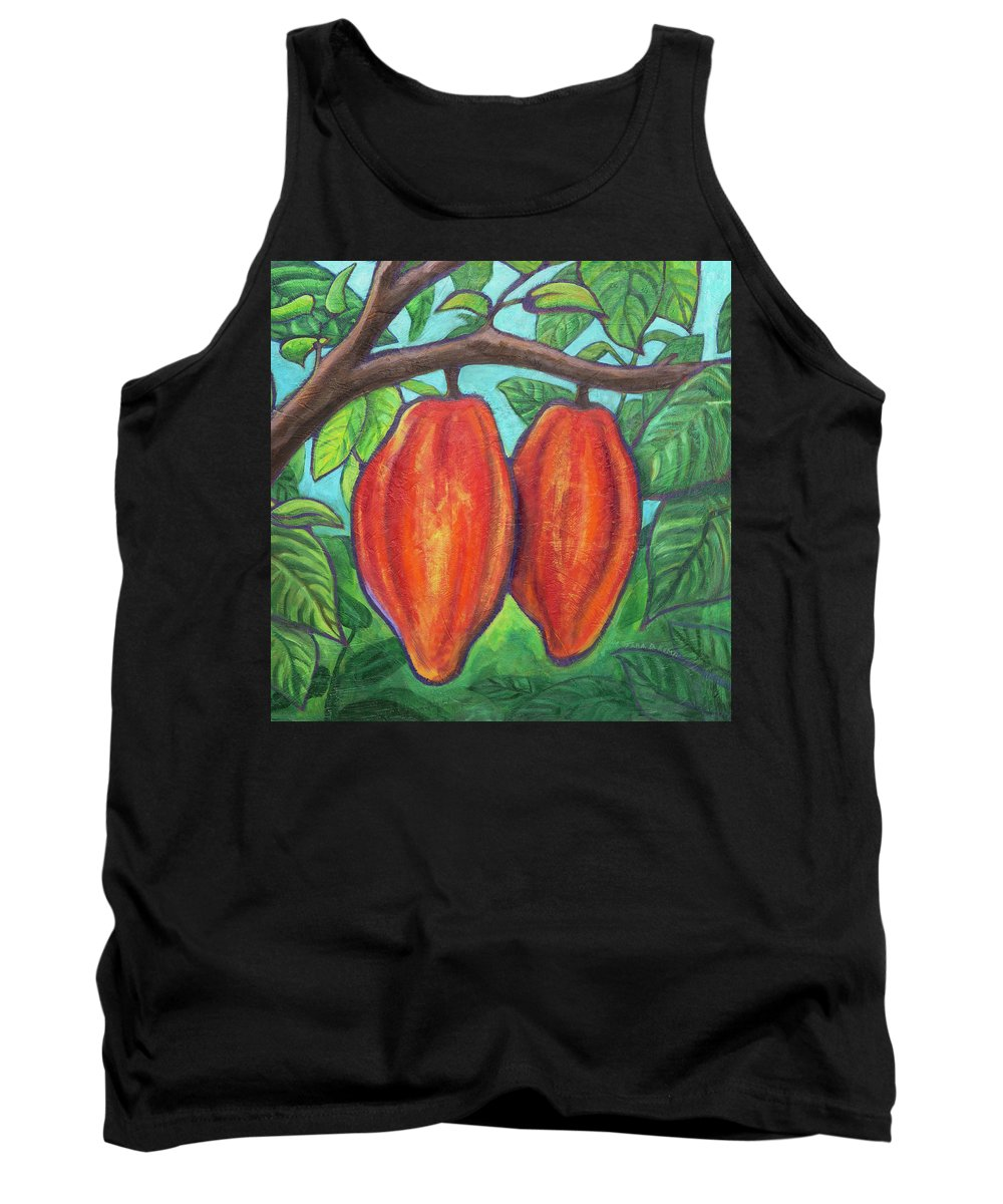 Coconut Bliss Tank Top featuring the painting Blissful Cacao by Tara D Kemp