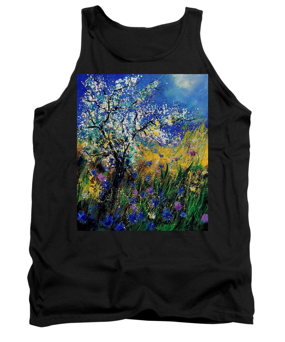 Spring Tank Top featuring the painting Blooming Appletree by Pol Ledent