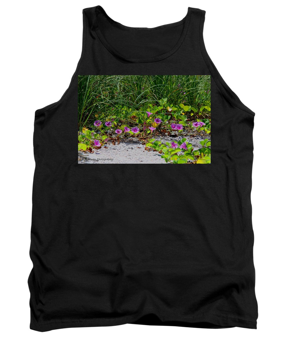 Cross Vines Tank Top featuring the photograph Blooming Cross Vines Along The Beach by Barbara Bowen