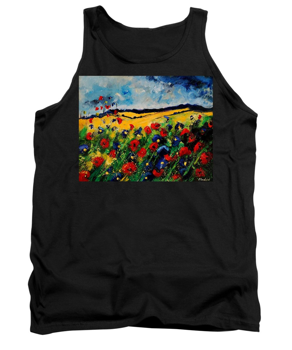 Poppies Tank Top featuring the painting Blue And Red Poppies 45 by Pol Ledent