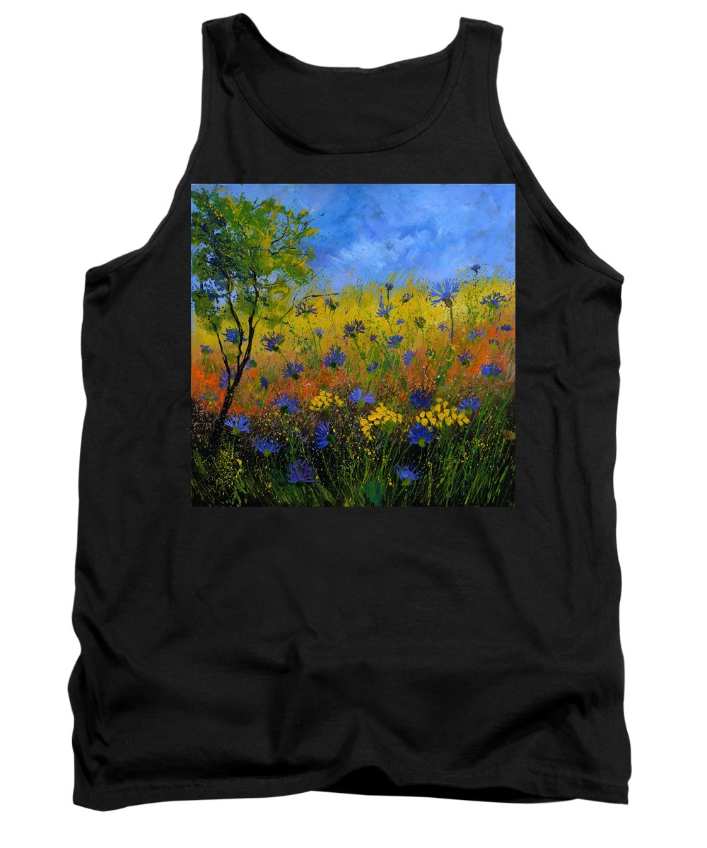 Flowers Tank Top featuring the painting Blue cornflowers 7761 by Pol Ledent