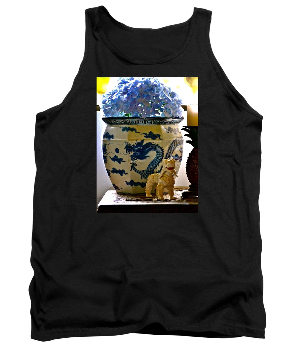 Hawaii Tank Top featuring the photograph Blue Dragon And Hydrangeas by Lehua Pekelo-Stearns