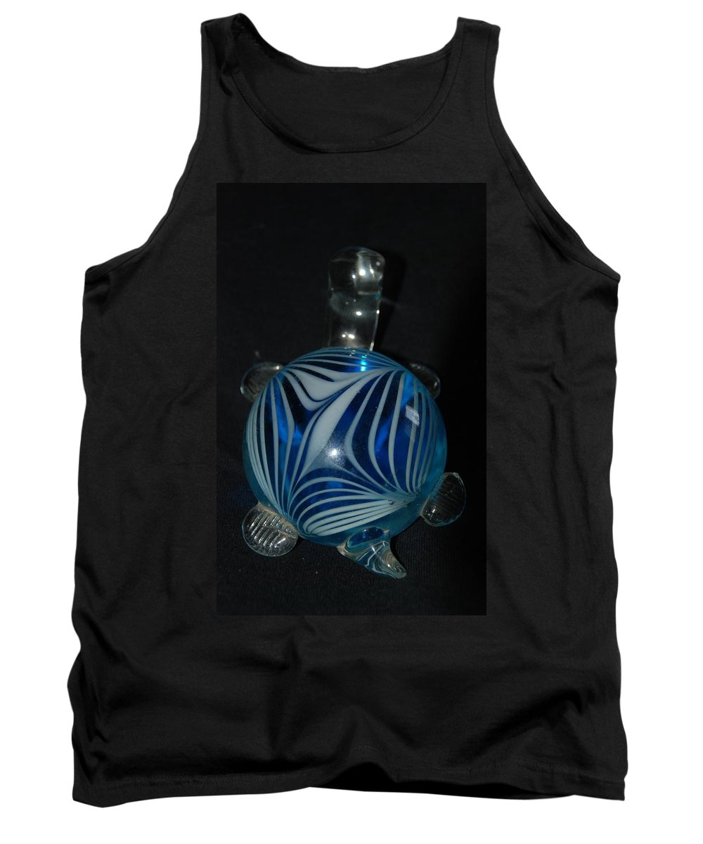 Glass Tank Top featuring the photograph Blue Glass Turtle by Rob Hans