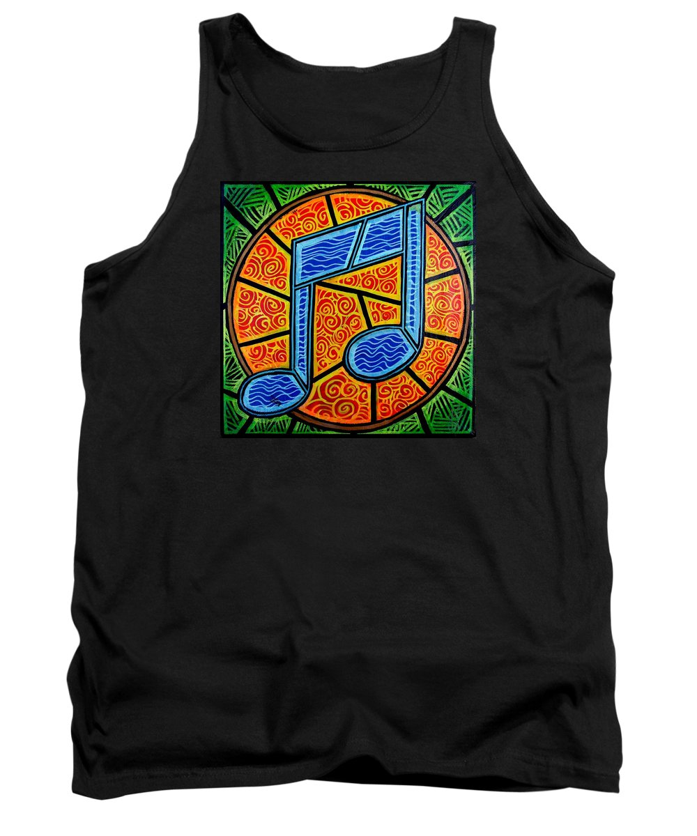 Music Tank Top featuring the painting Blue Note On Red by Jim Harris