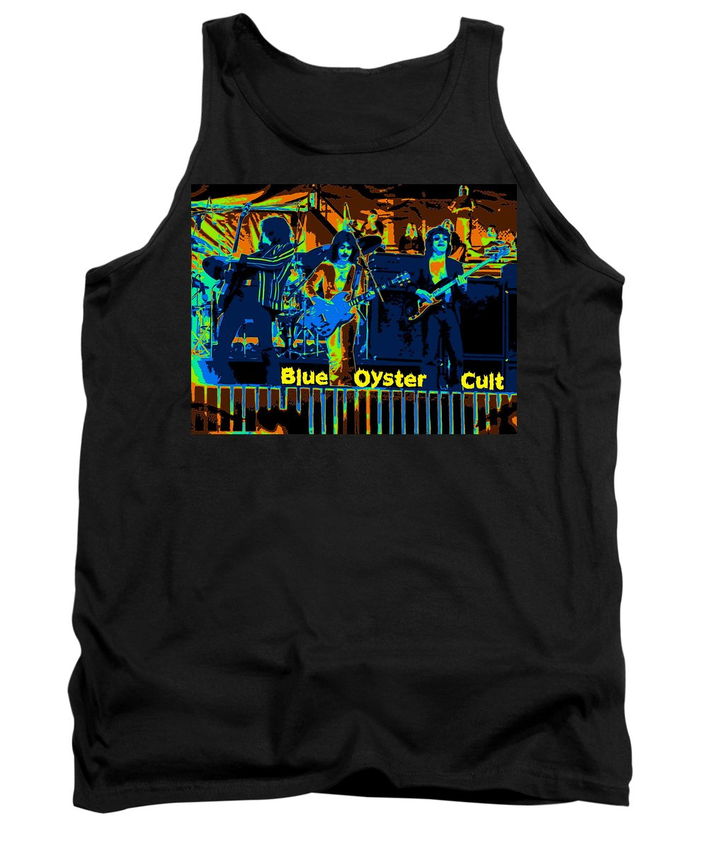 Blue Oyster Cult Tank Top featuring the photograph Blue Oyster Cult Jamming In Oakland 1976 by Ben Upham