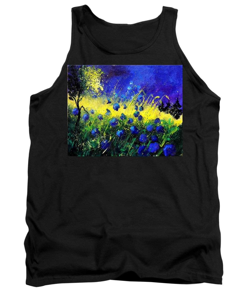Flowers Tank Top featuring the painting Blue Poppies by Pol Ledent