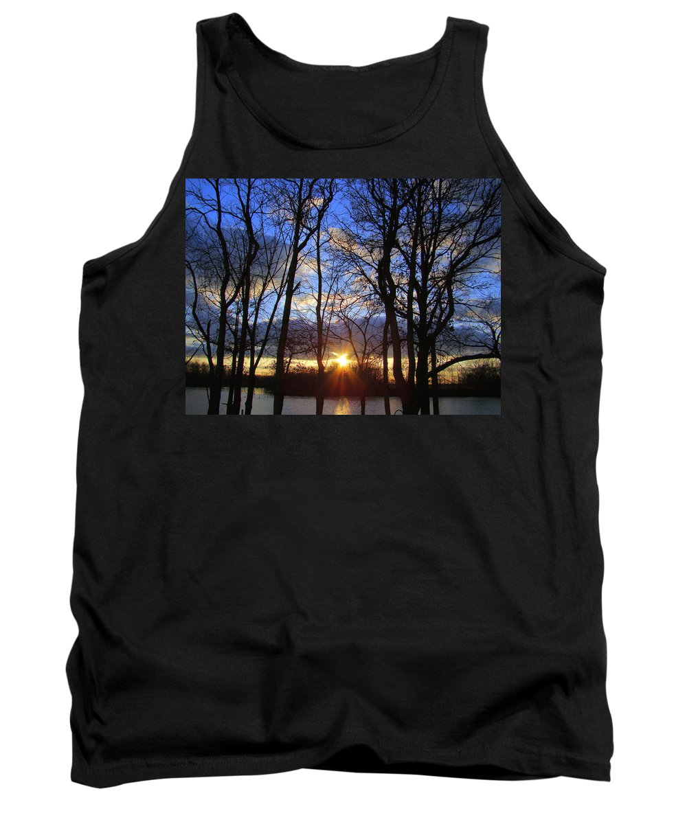 Sunset Tank Top featuring the photograph Blue Skies And Golden Sun by J R Seymour
