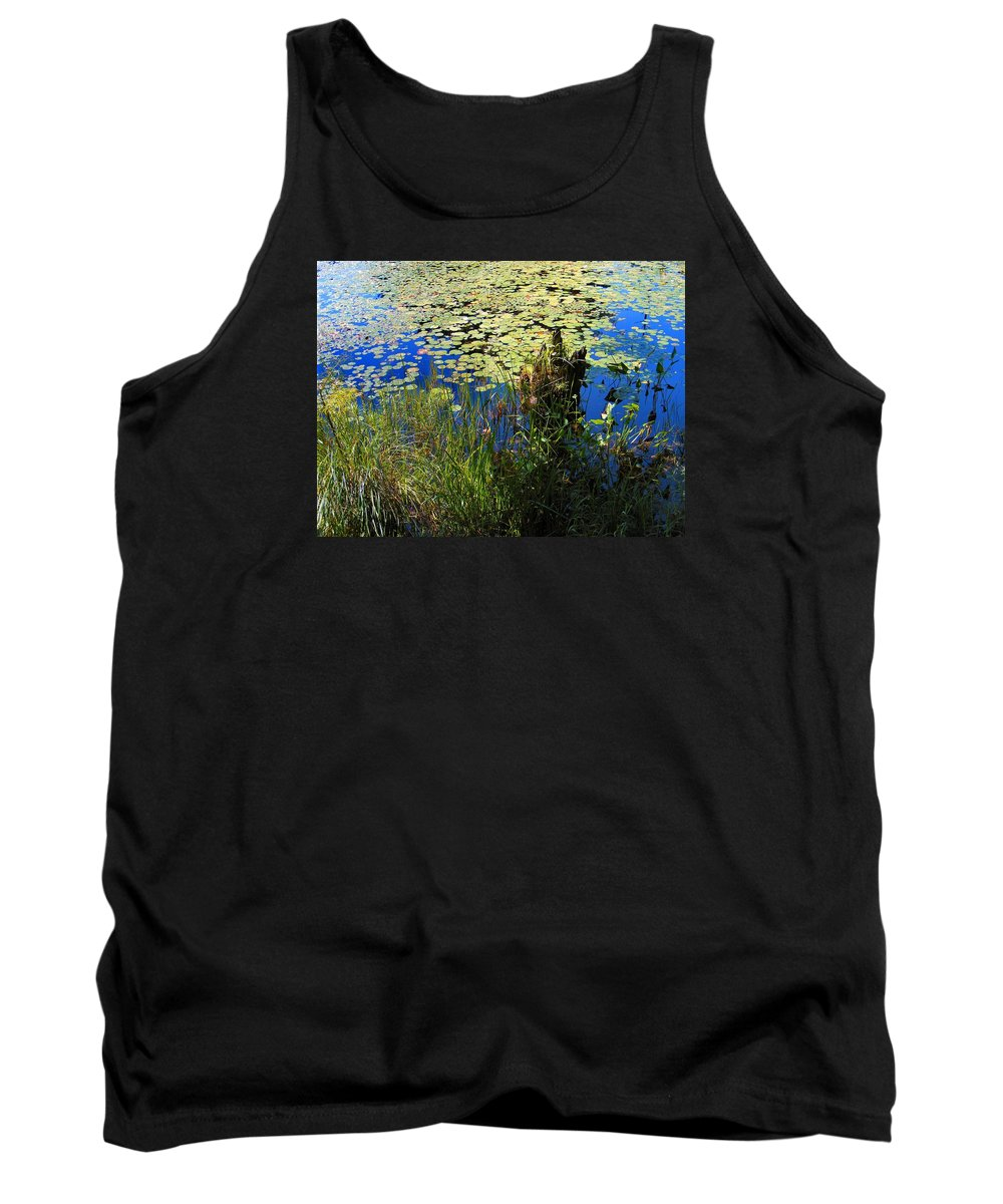 Pond Tank Top featuring the photograph Blue Sky Pond by Dave Martsolf