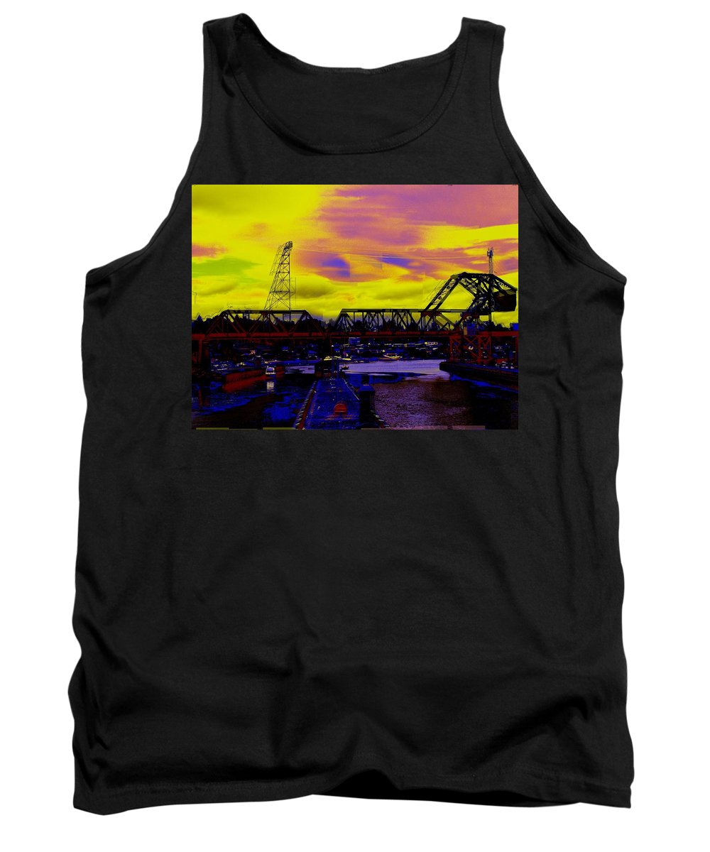 Seattle Tank Top featuring the photograph Bnsf Trestle At Salmon Bay by Tim Allen