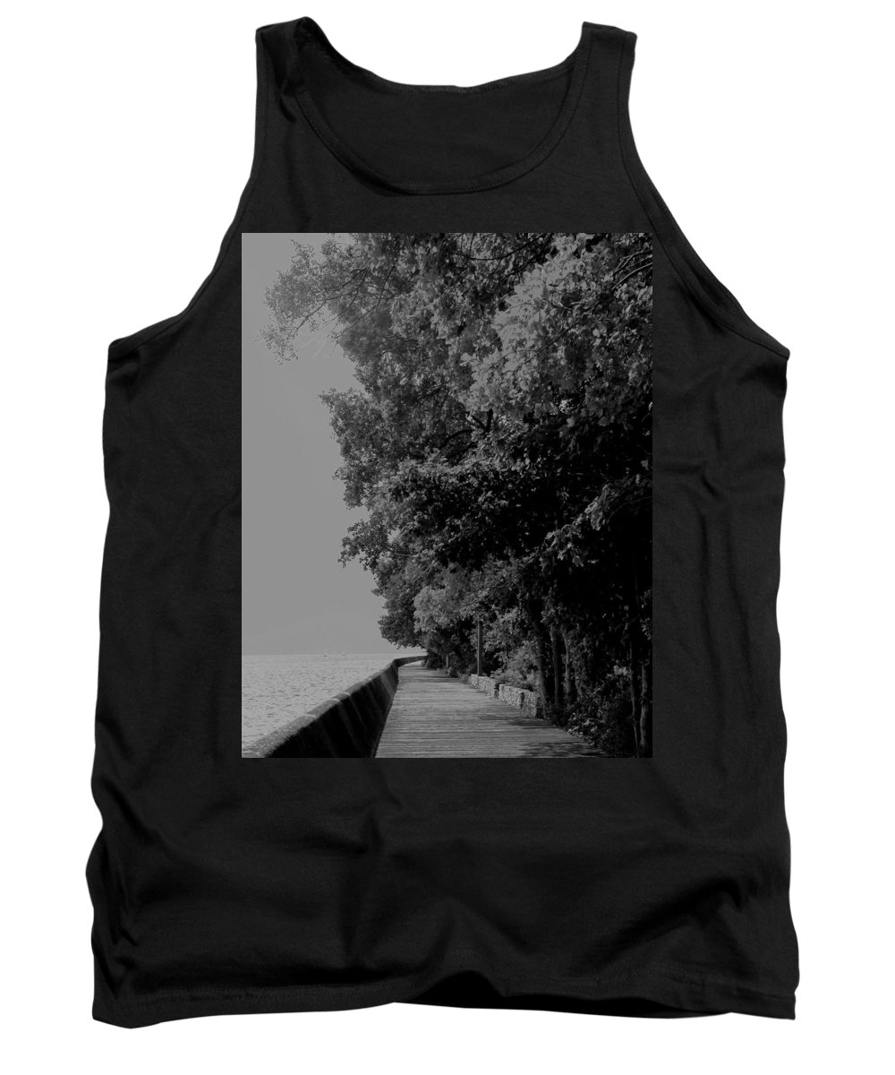 Black And White Tank Top featuring the photograph Boardwalk by Ian MacDonald