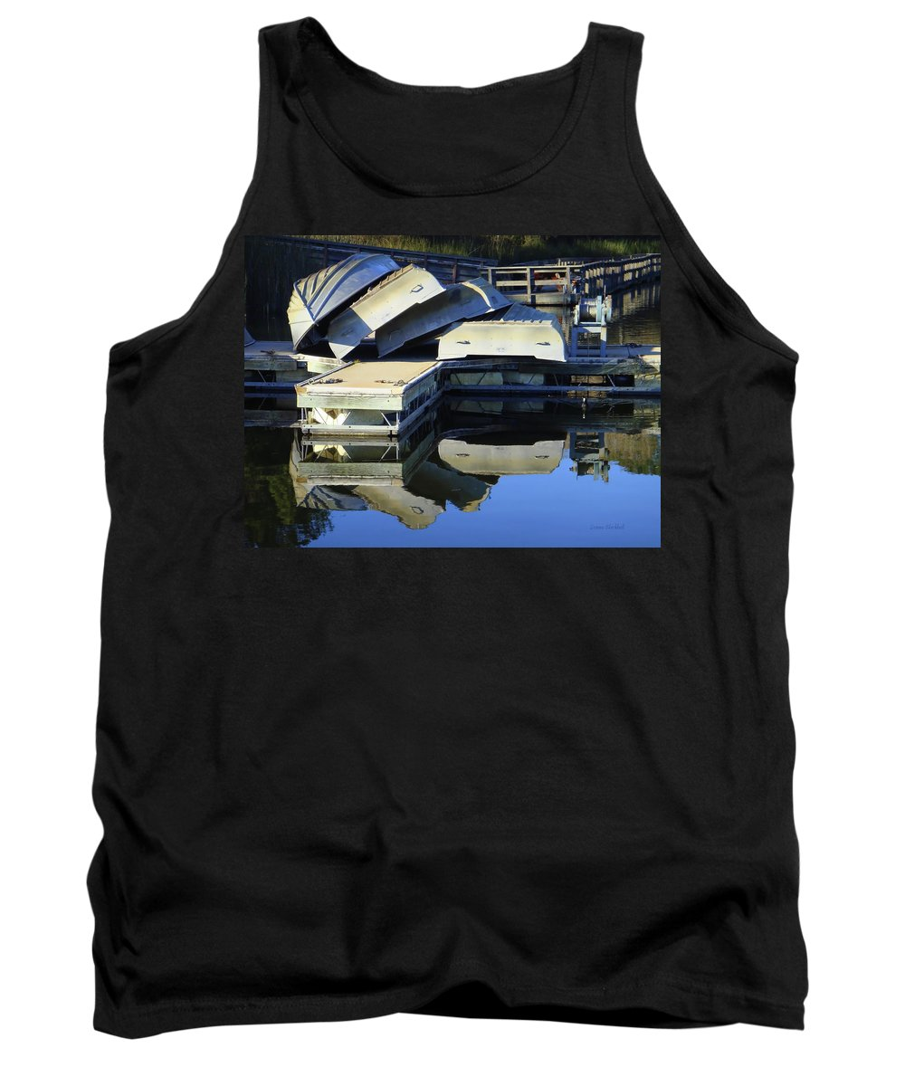 Water Tank Top featuring the photograph Boating Incident by Donna Blackhall